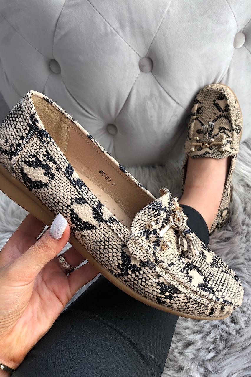 Gold Snake Tassel Loafers