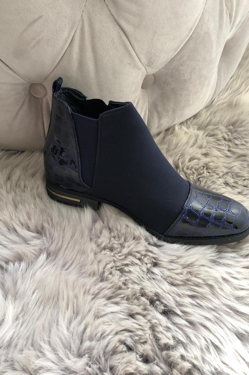 Zip Navy Croc Print Boots
