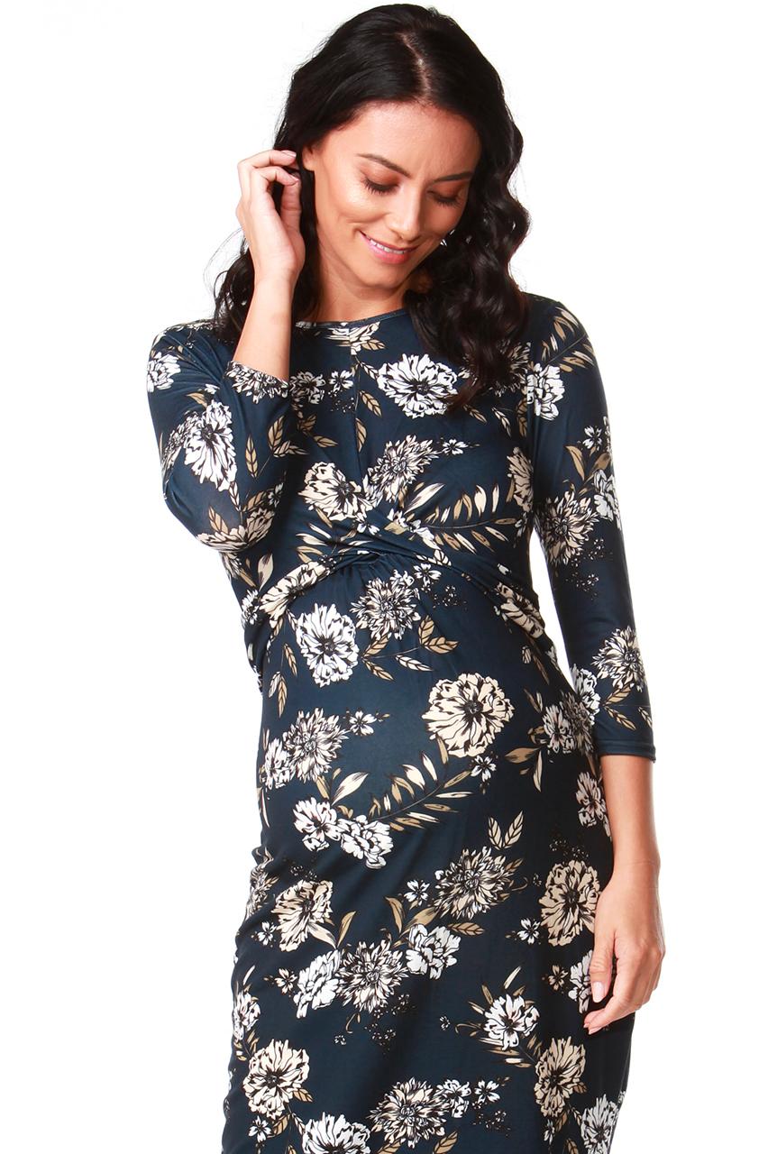 Maternity Navy Agnes Twist Front Floral Midi Dress