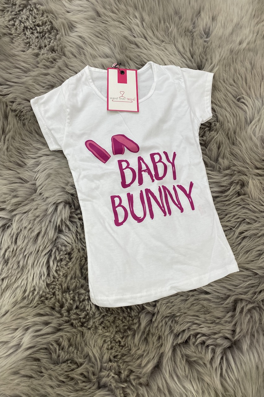 "Matching Children's ""Baby Bunny"" White T-shirt"
