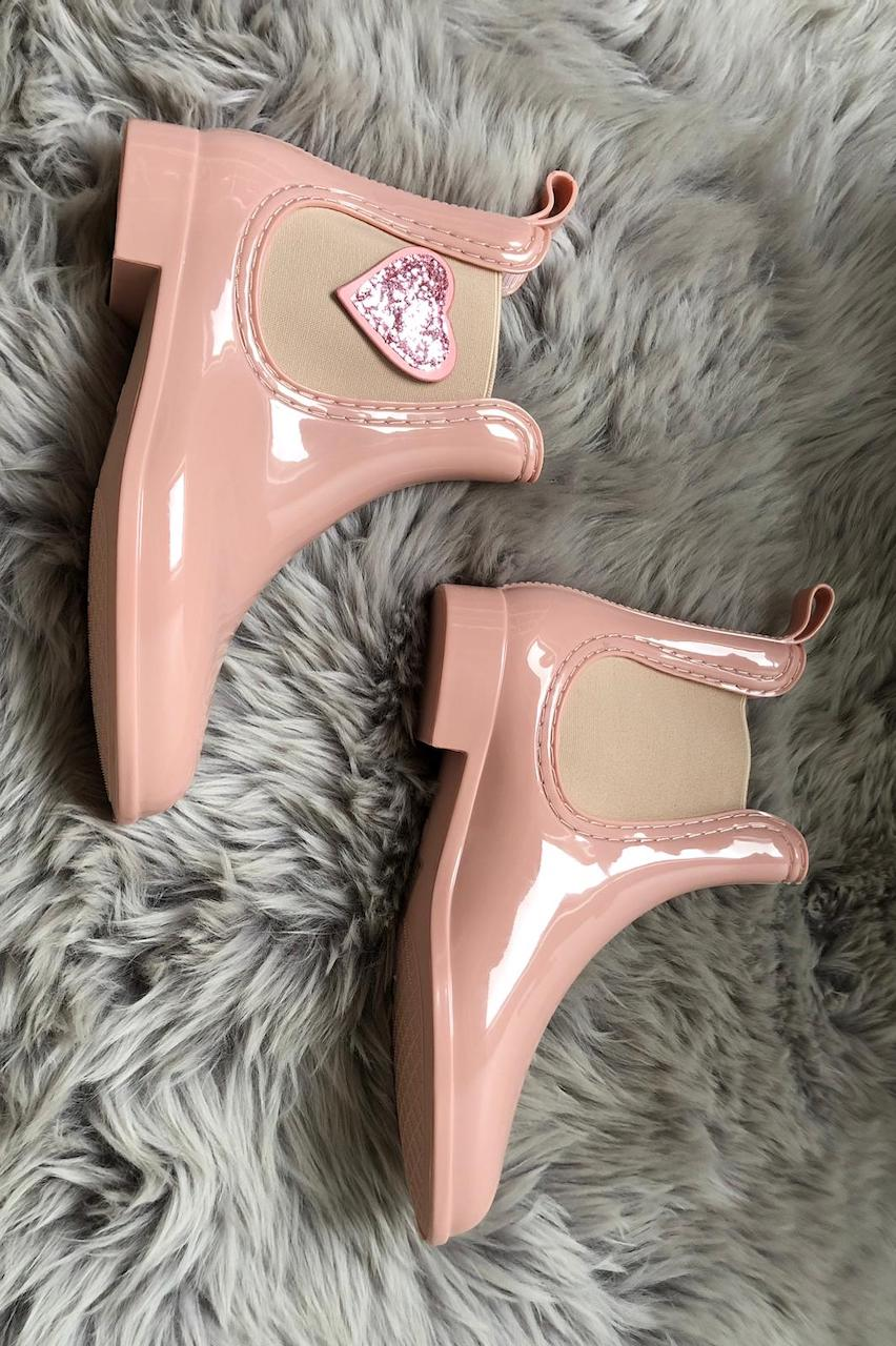 Pink Heart Chelsea Waterproof Boots