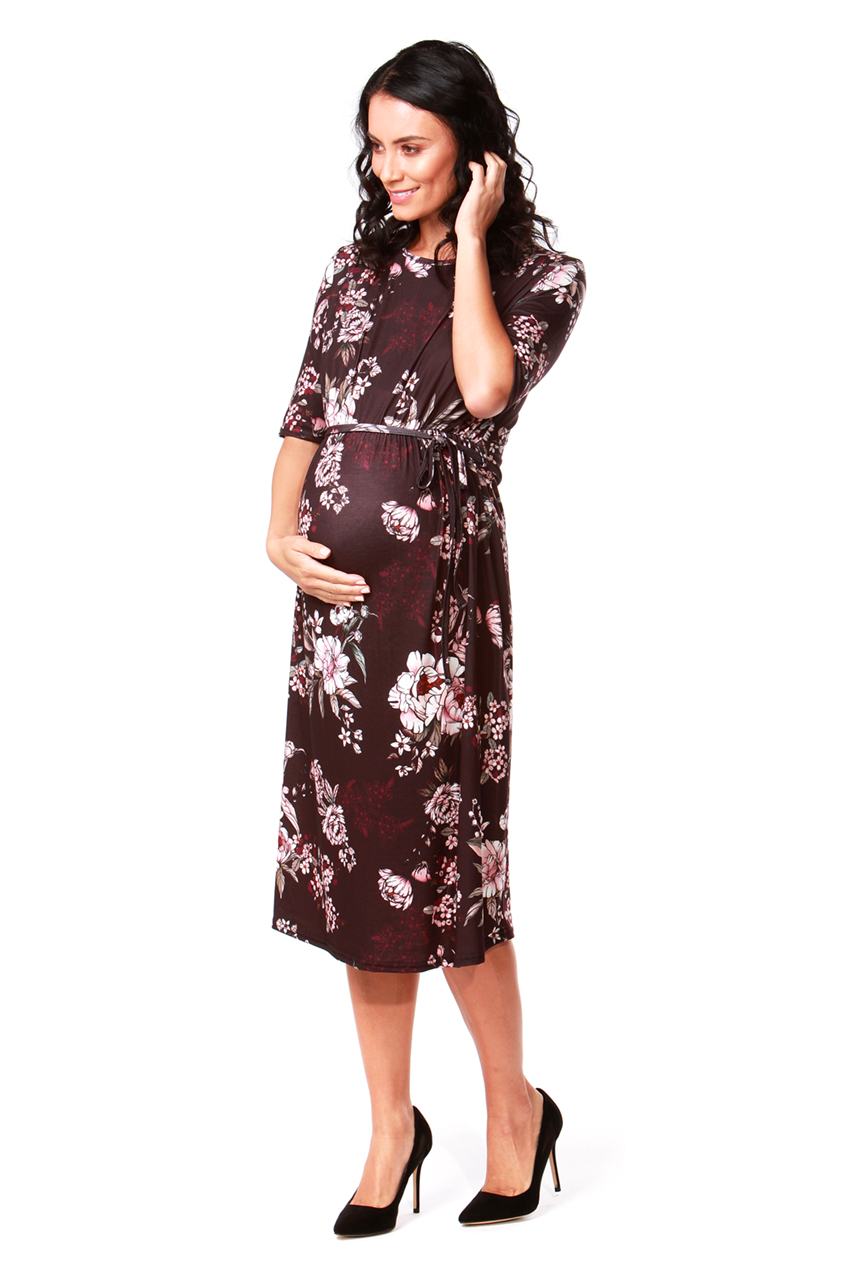 Maternity Chocolate Wine Belted Midi Dress