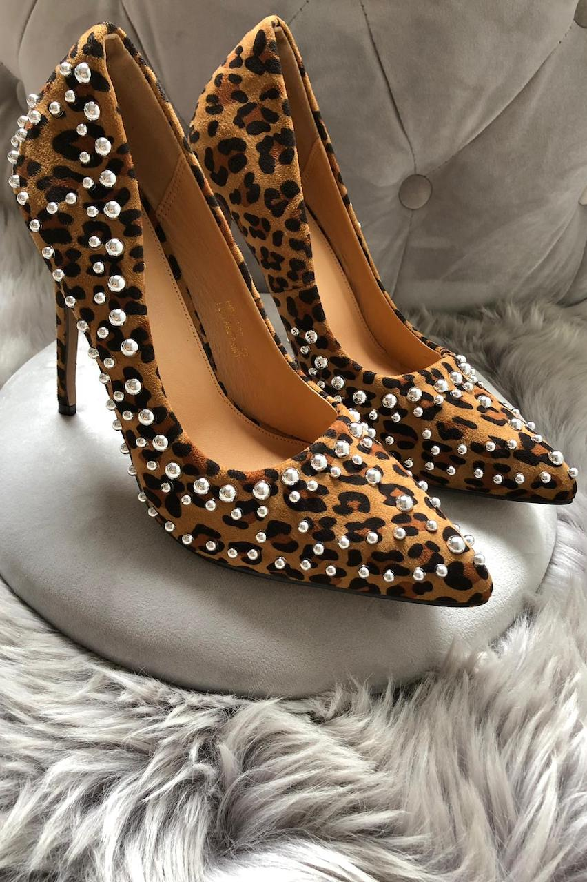 Pearl Studded Leopard High Heels