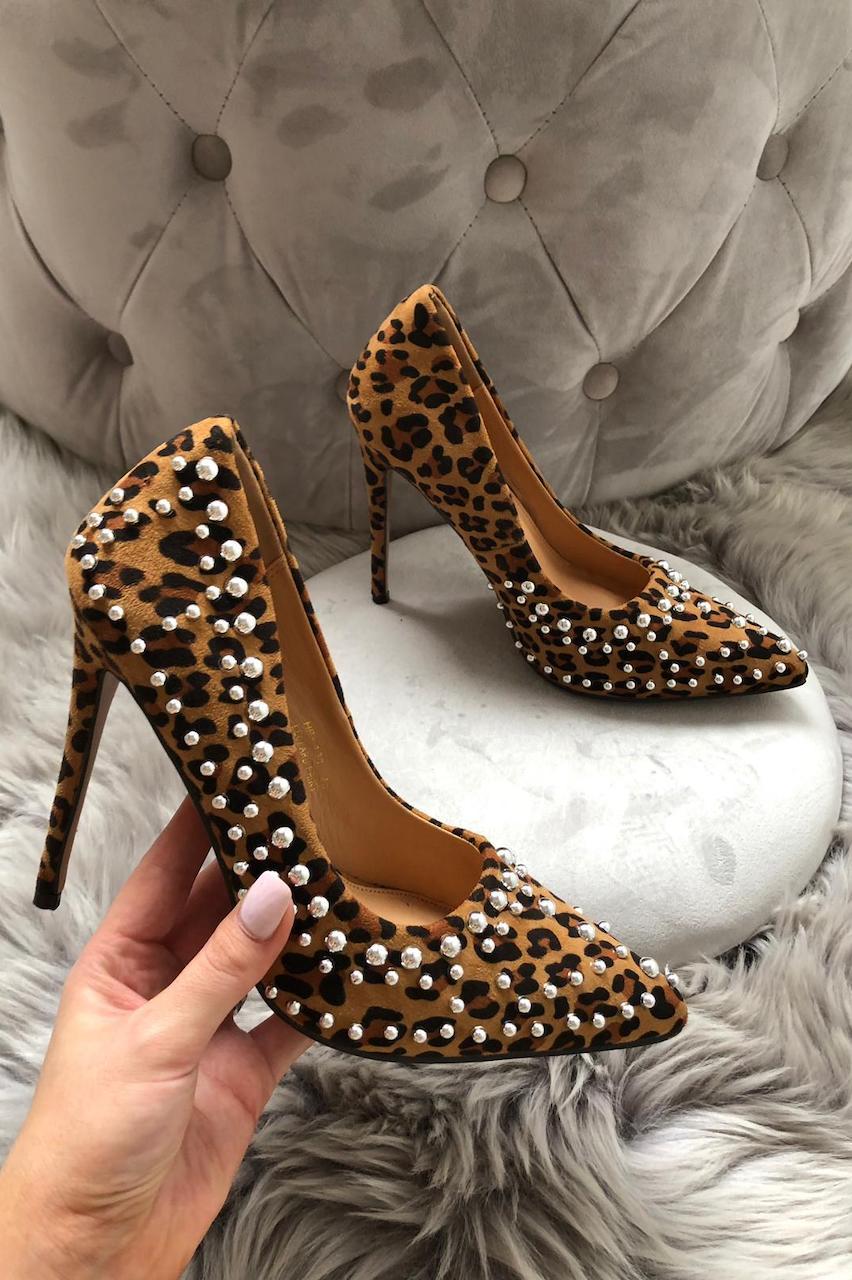 Pearl Studded Leopard High Heels