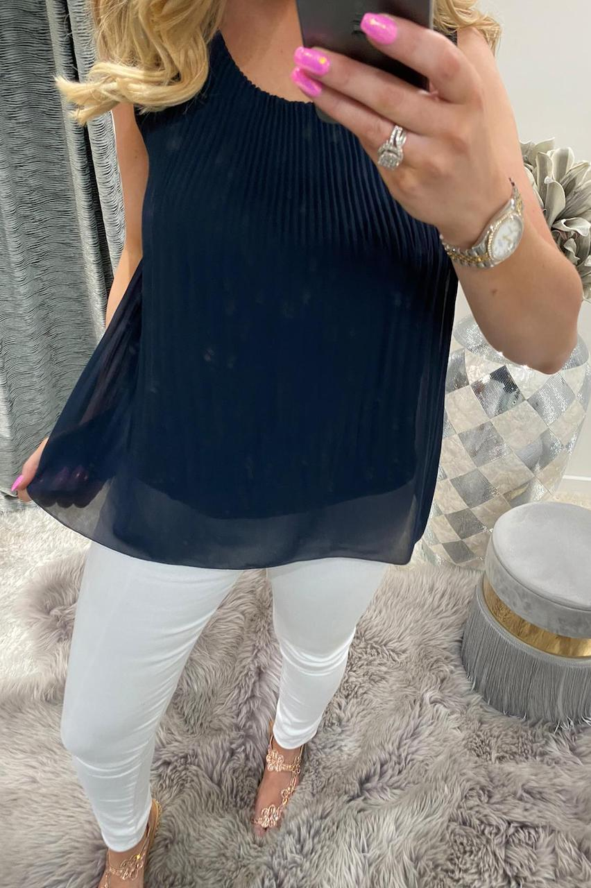 Navy Pleated Top with Necklace