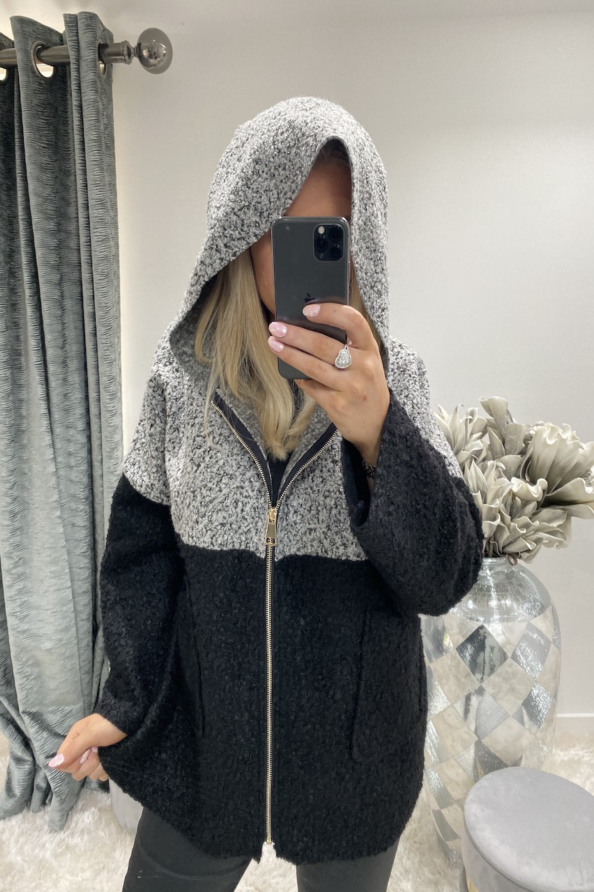 Angelina Heather Print Hooded Coatigan