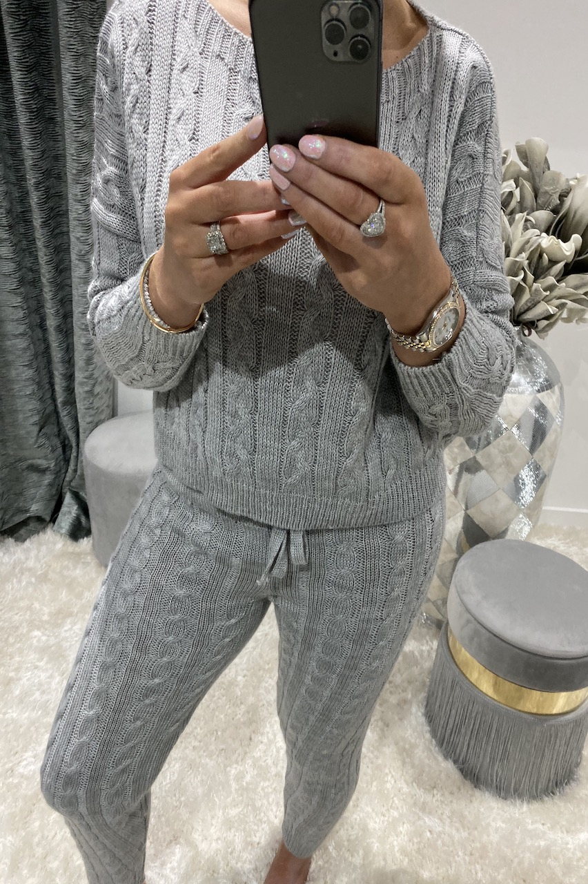 Adela Grey Knitted Co-ord Loungesuit Set