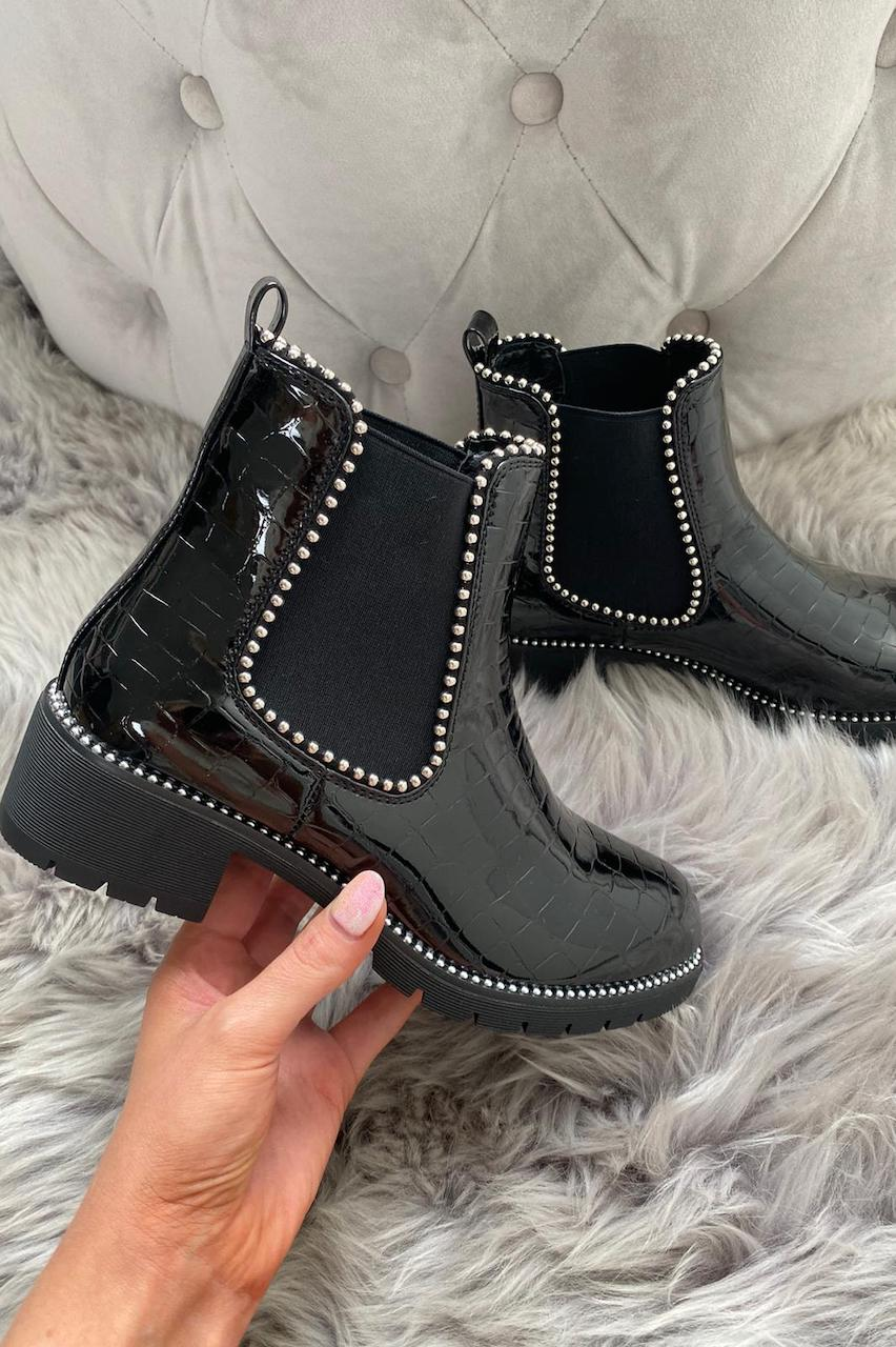 Black Studded Patent Croc Print Chelsea Boots