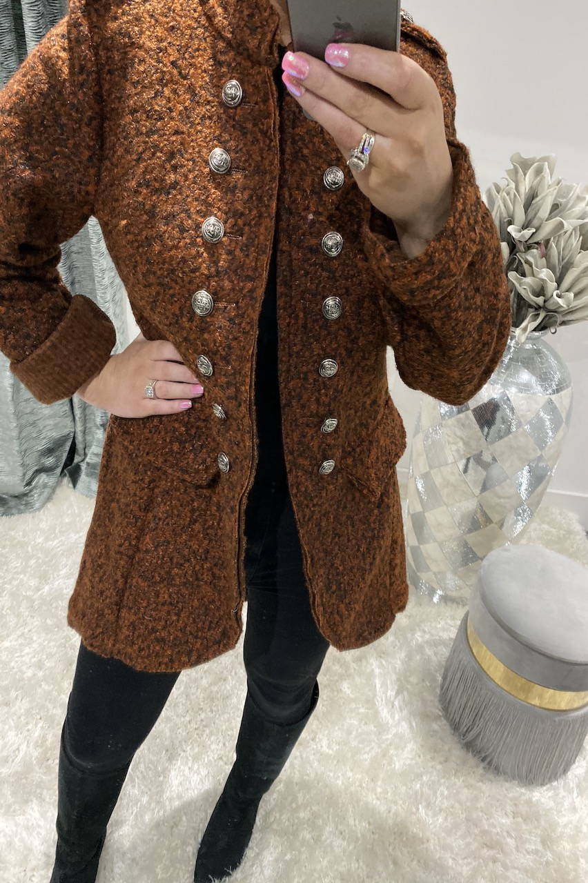 Rust Military Button Coat