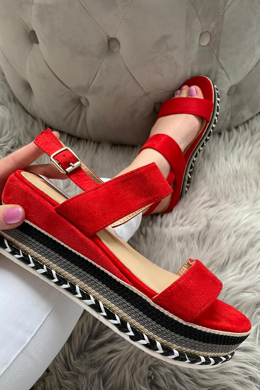Karmen Red Suede Wedges