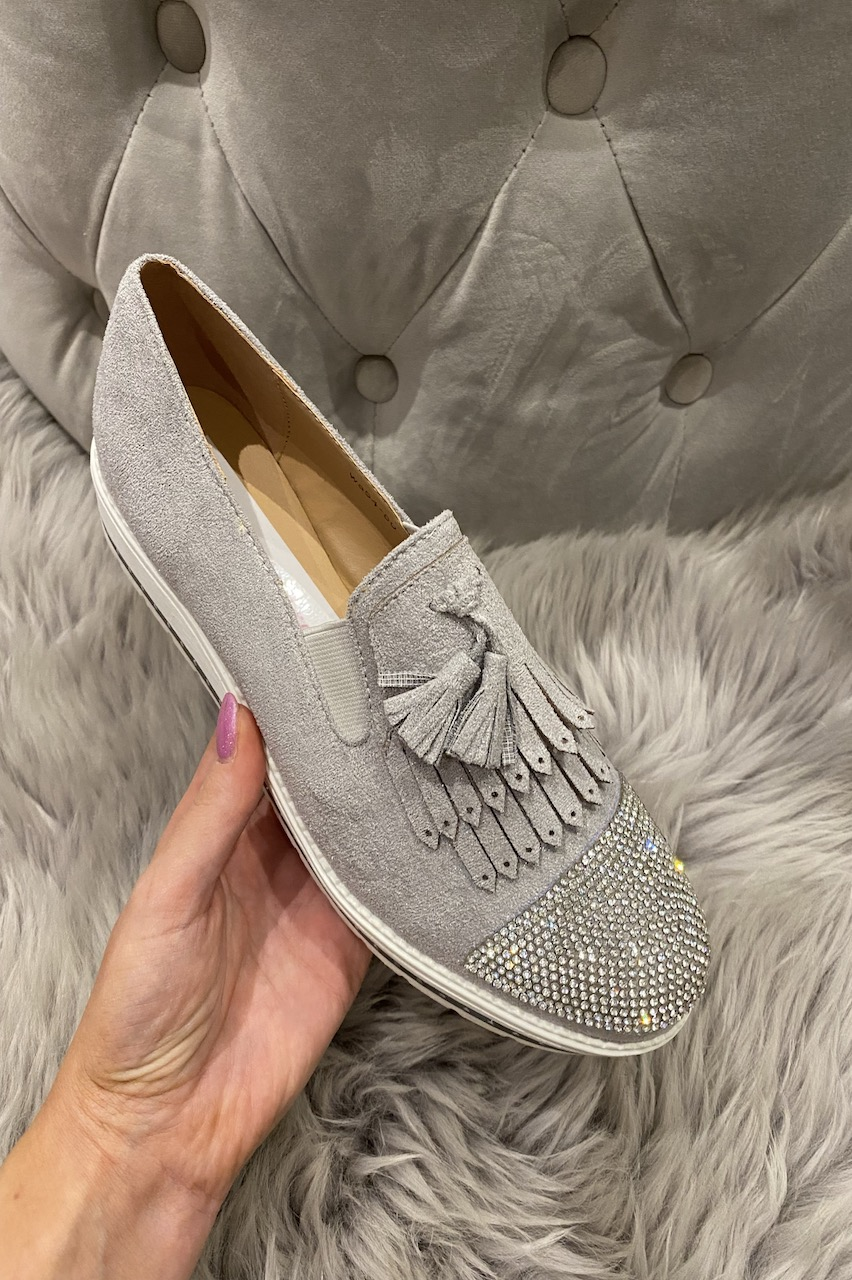 Betty Grey Suede Diamonds Loafers