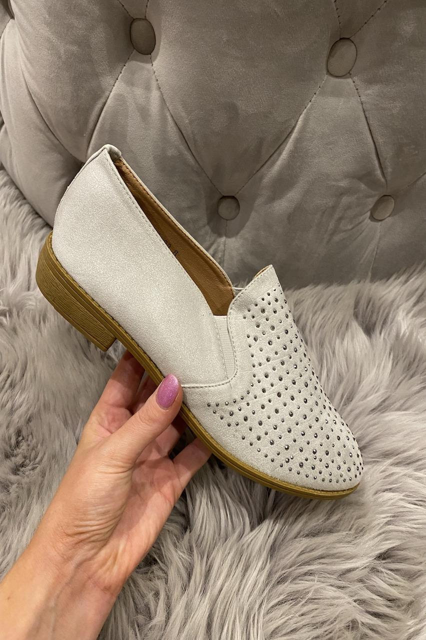 Grey Low-Heeled Diamonds Loafers