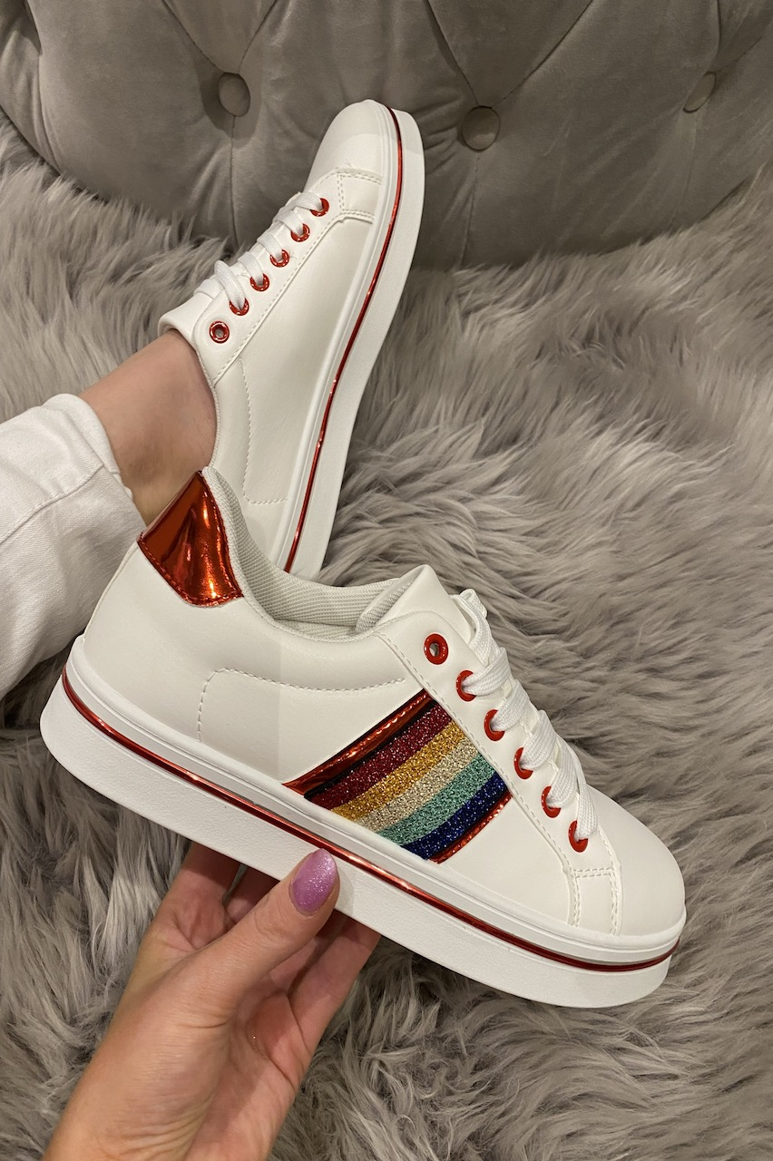 Red Trim Multi-Colour Stripes Trainers