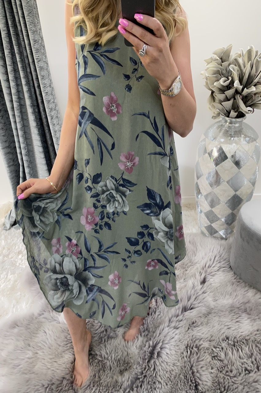 Khaki Floral Maxi Dress