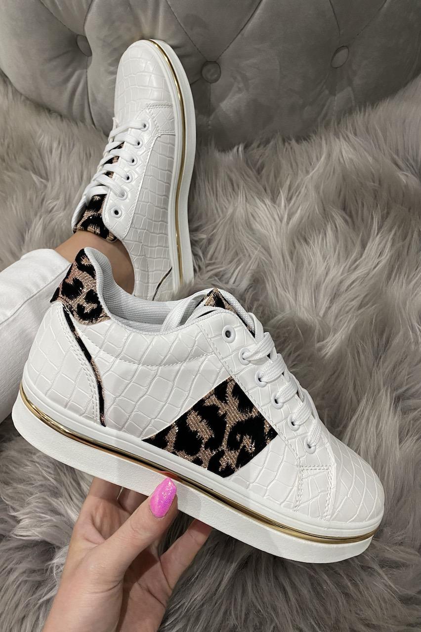 Lora White Croc Leopard Trainers