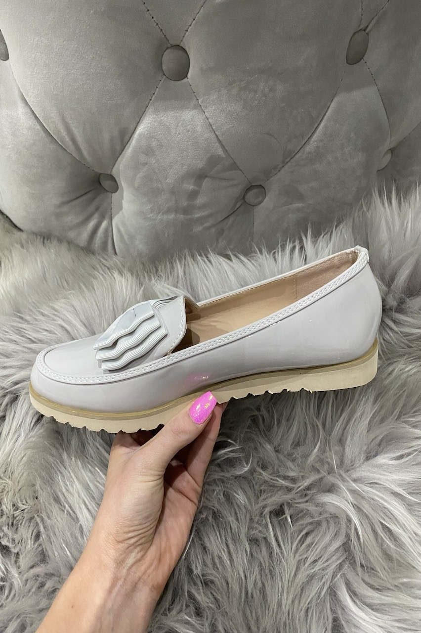 Grey Patent Bow Loafers