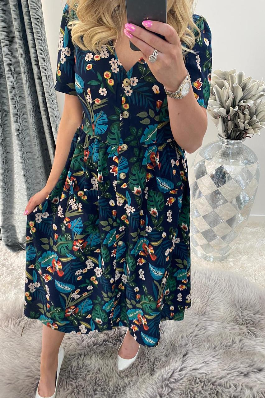 Alex Floral Button Midi Dress