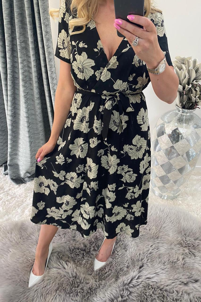 Maggie Black Flower Midi Dress