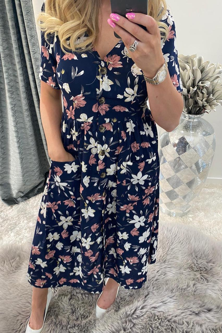 Bryony Navy Floral Button Midi Dress