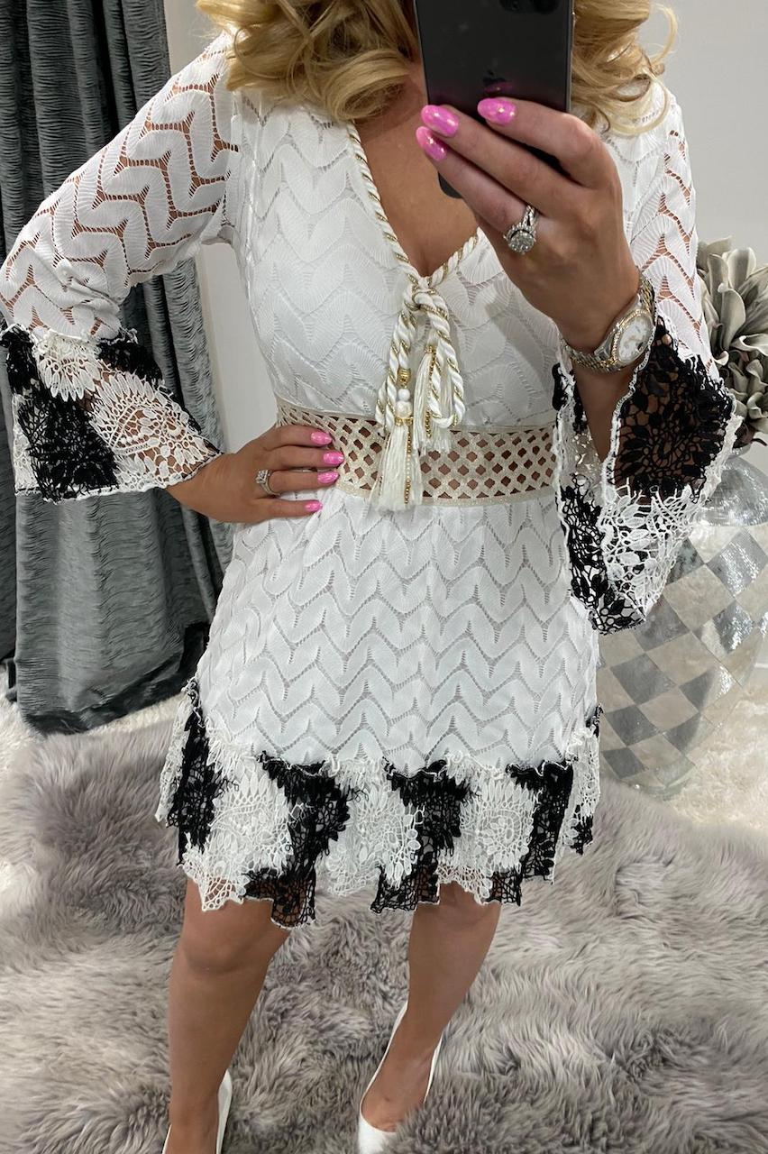 Antheia White and Black Lace Dress