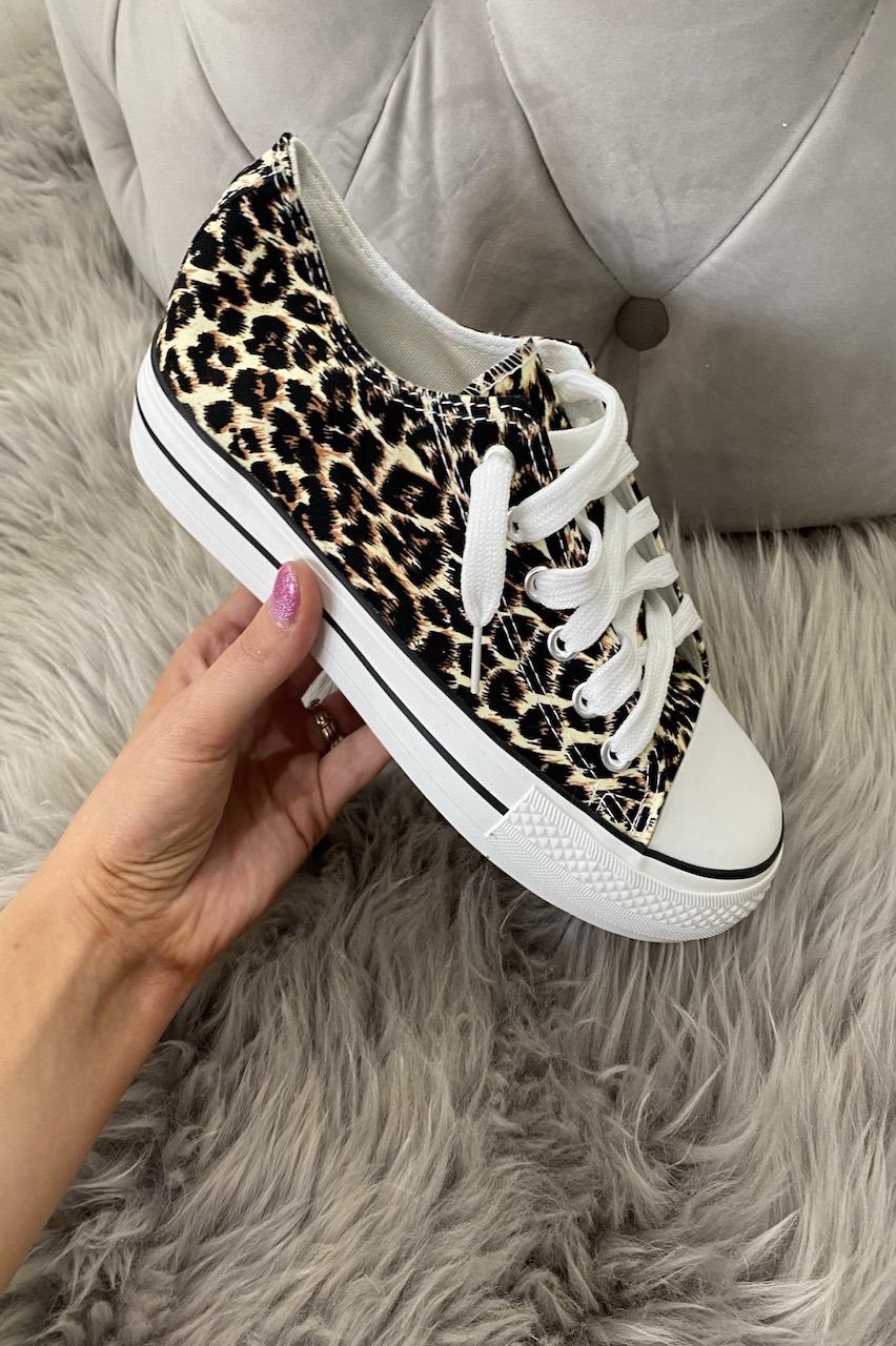 High Sole Estori Leopard Trainers