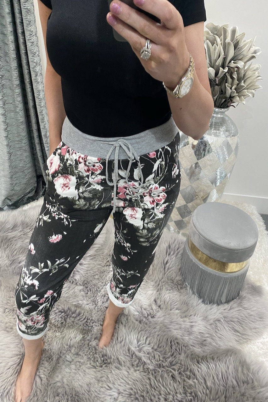 Black Floral Denim Draw String Joggers