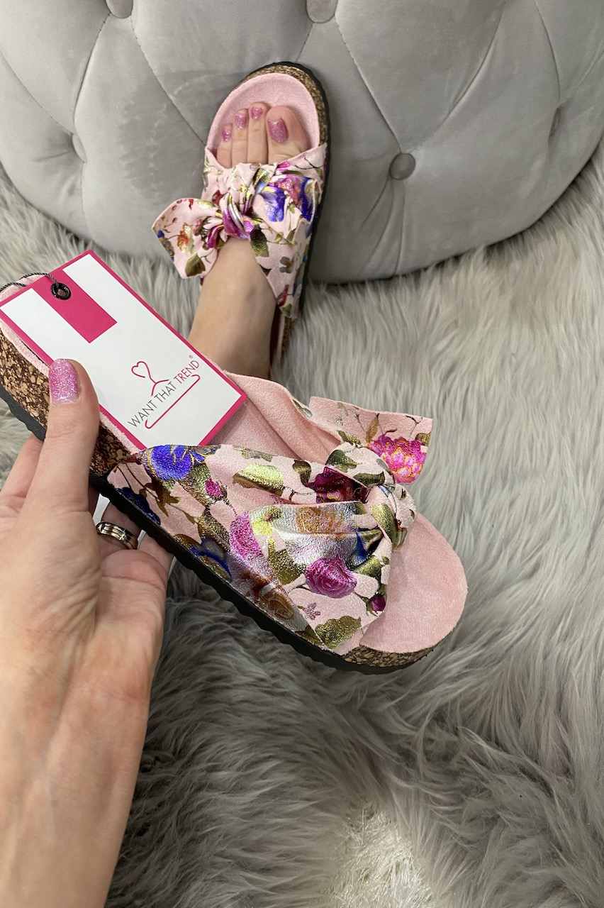 Pink  Floral Bow Sliders