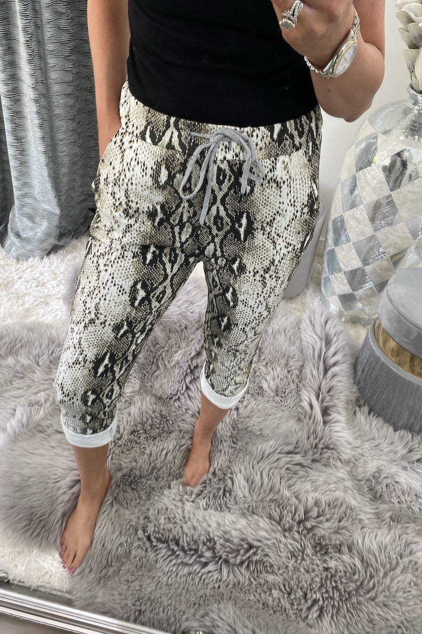 Snake Beige Drawstring Joggers