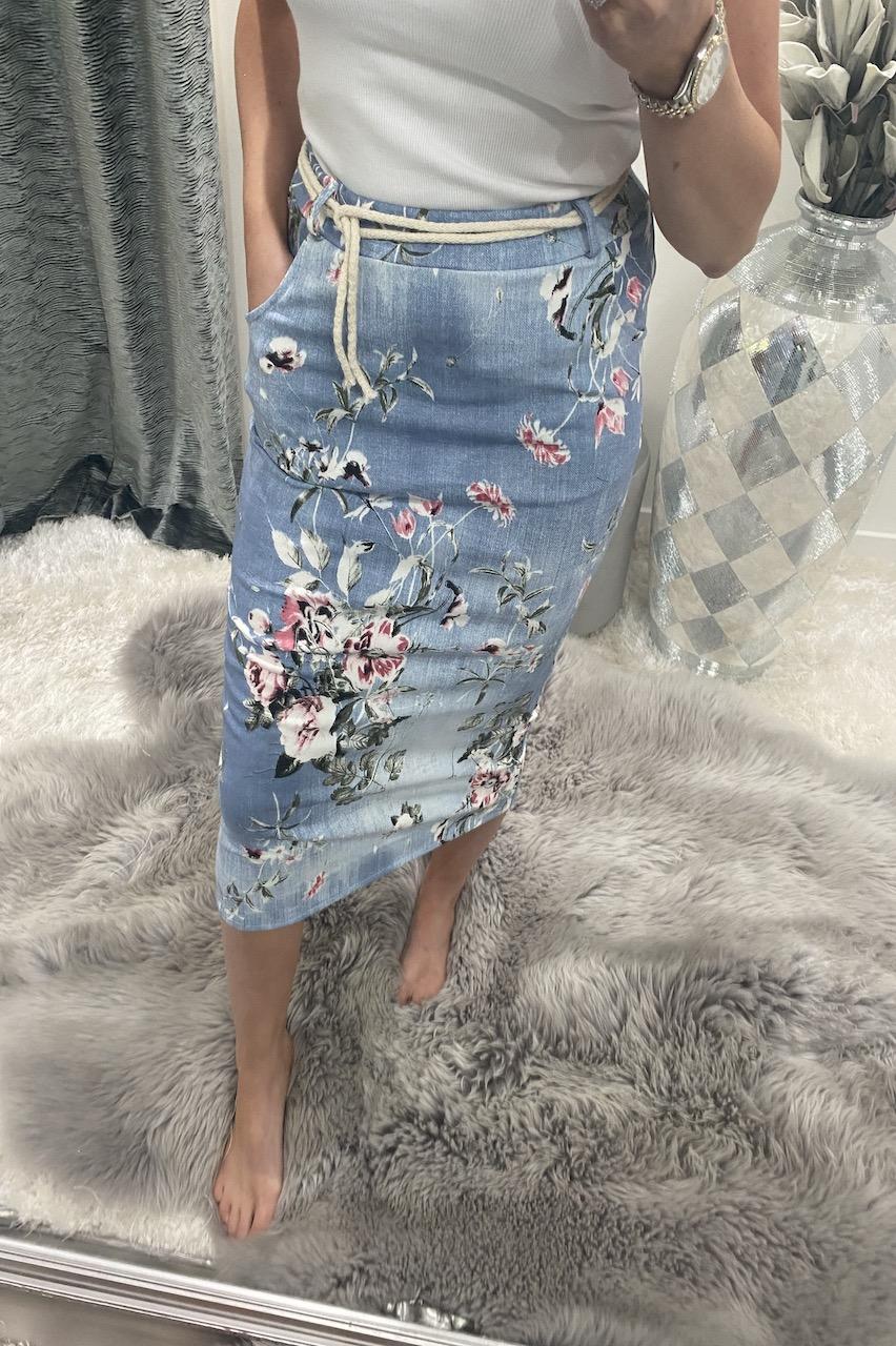 Light Floral Midi Skirt