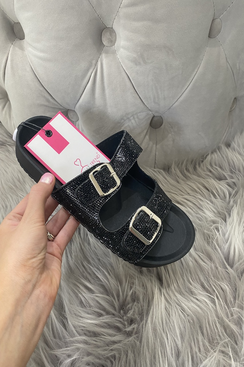 Black Diamond Buckle Sliders
