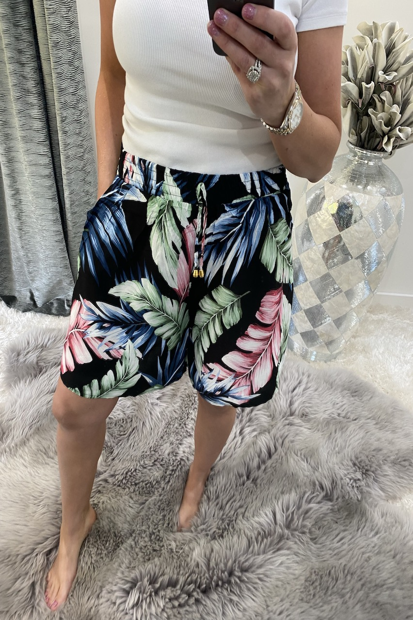 Navy Leaf  Shorts