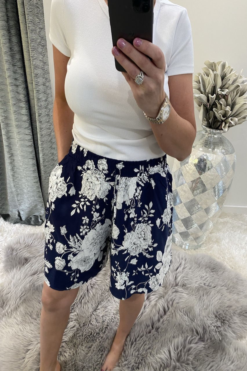 Navy Floral Bloom  Shorts