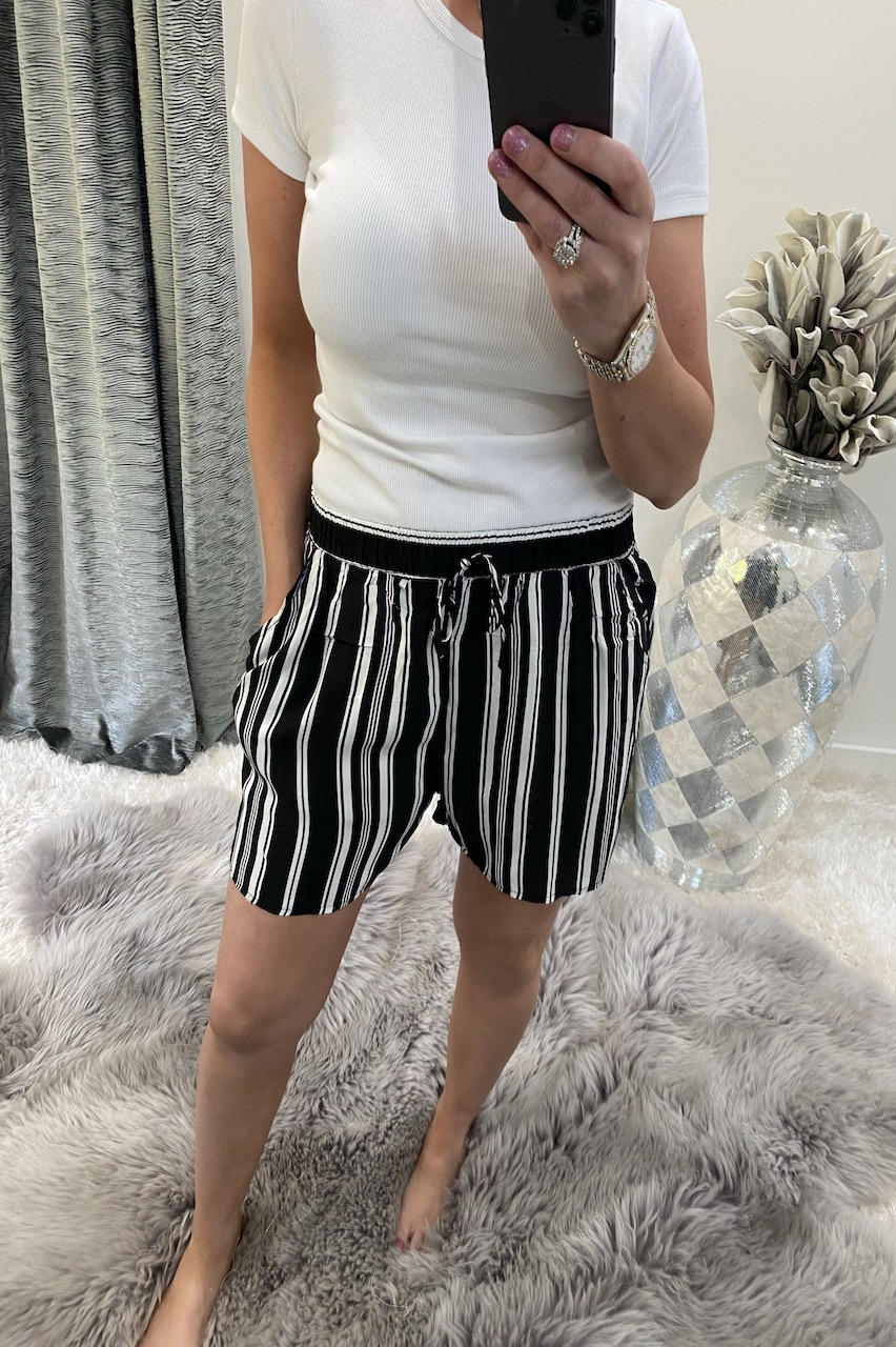 Black Stripe Shorts