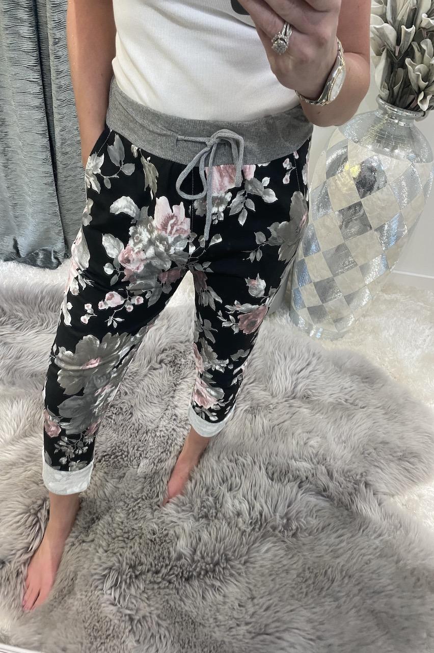 Zara Black & Pink Floral  Drawstring Joggers