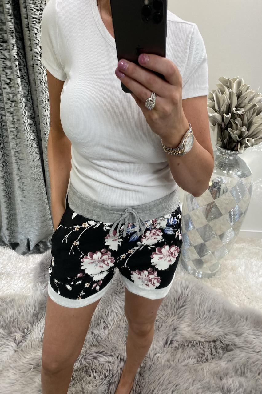 Black Genesis Floral Drawstring Shorts