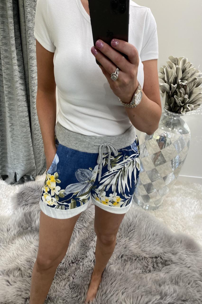 Dark Tropical Floral Drawstring Shorts