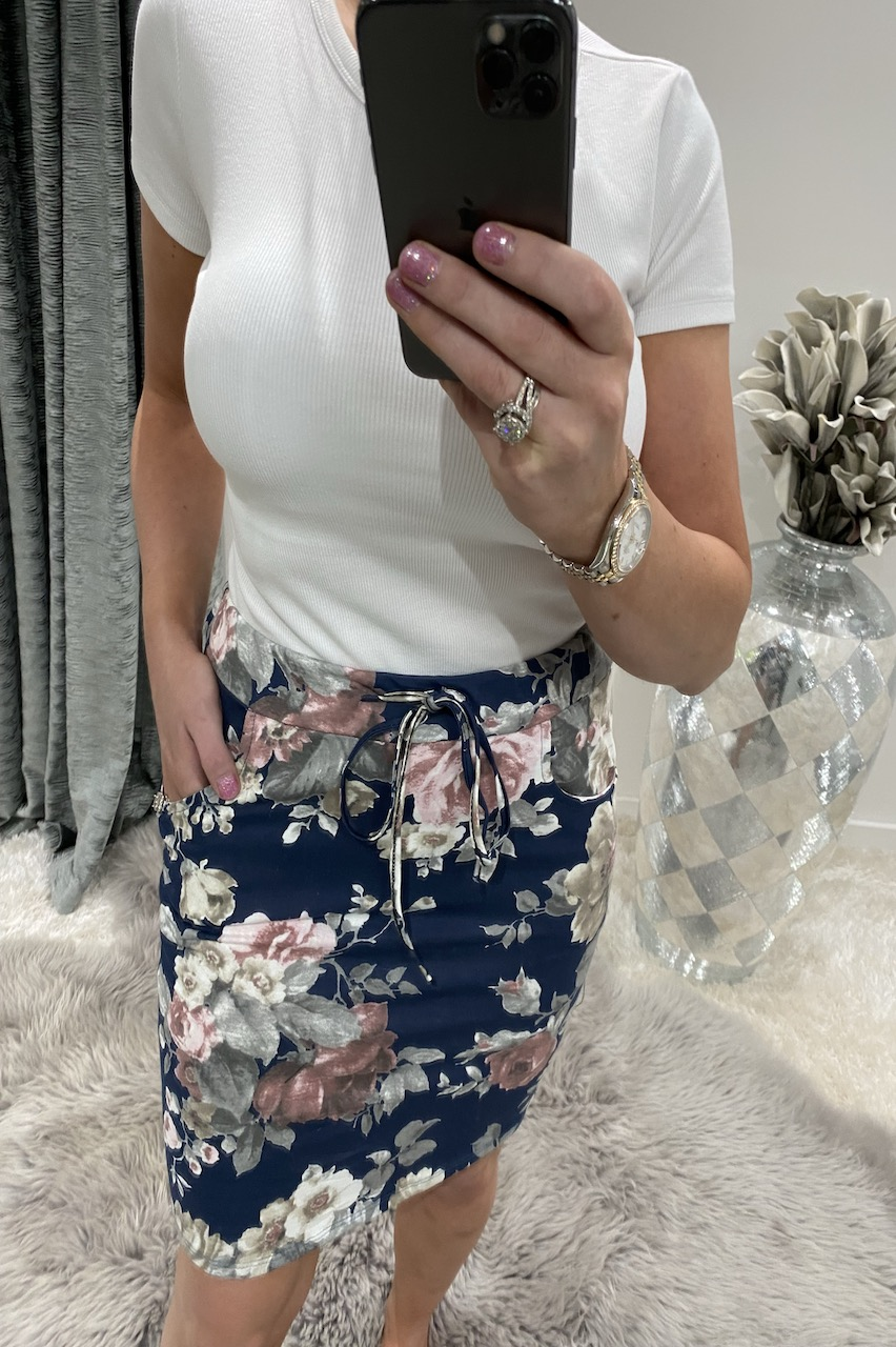 Navy & Grey Rose Drawstring Skirt