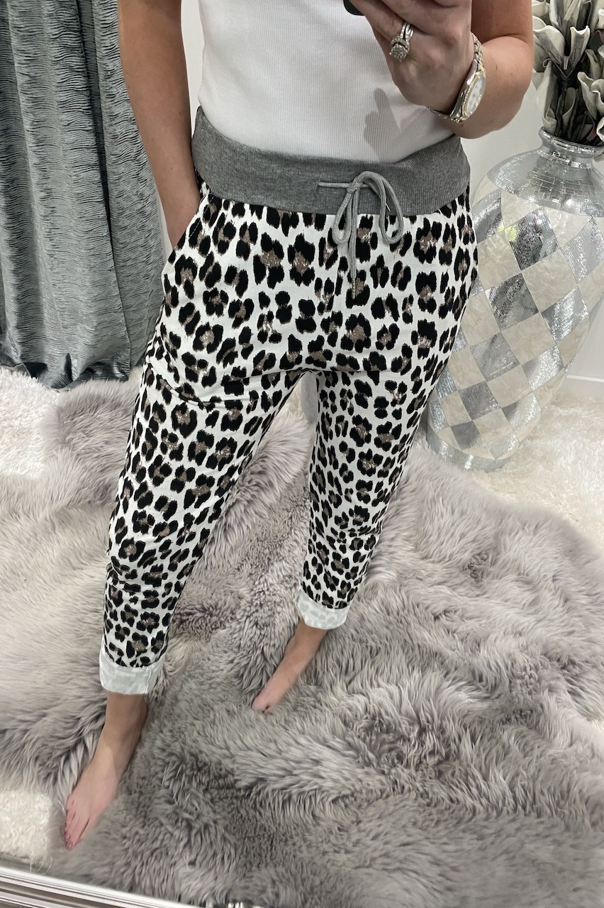 White Leopard Brown Spot Drawstring Joggers