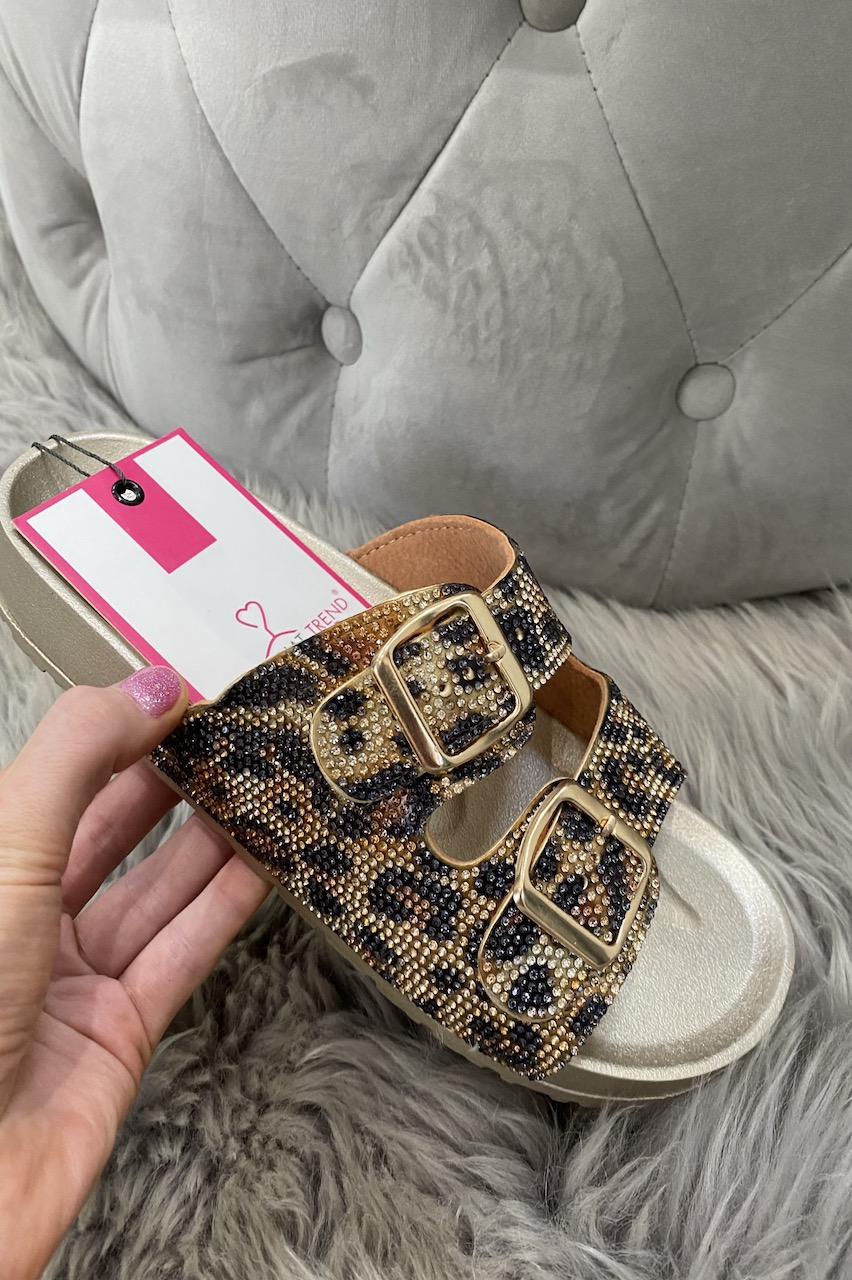 Leopard  Buckle Diamond  Sliders