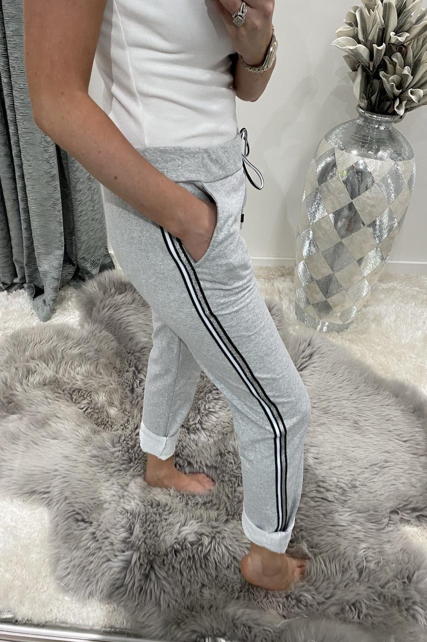Grey Sparkle Side Stripe Drawstring Joggers