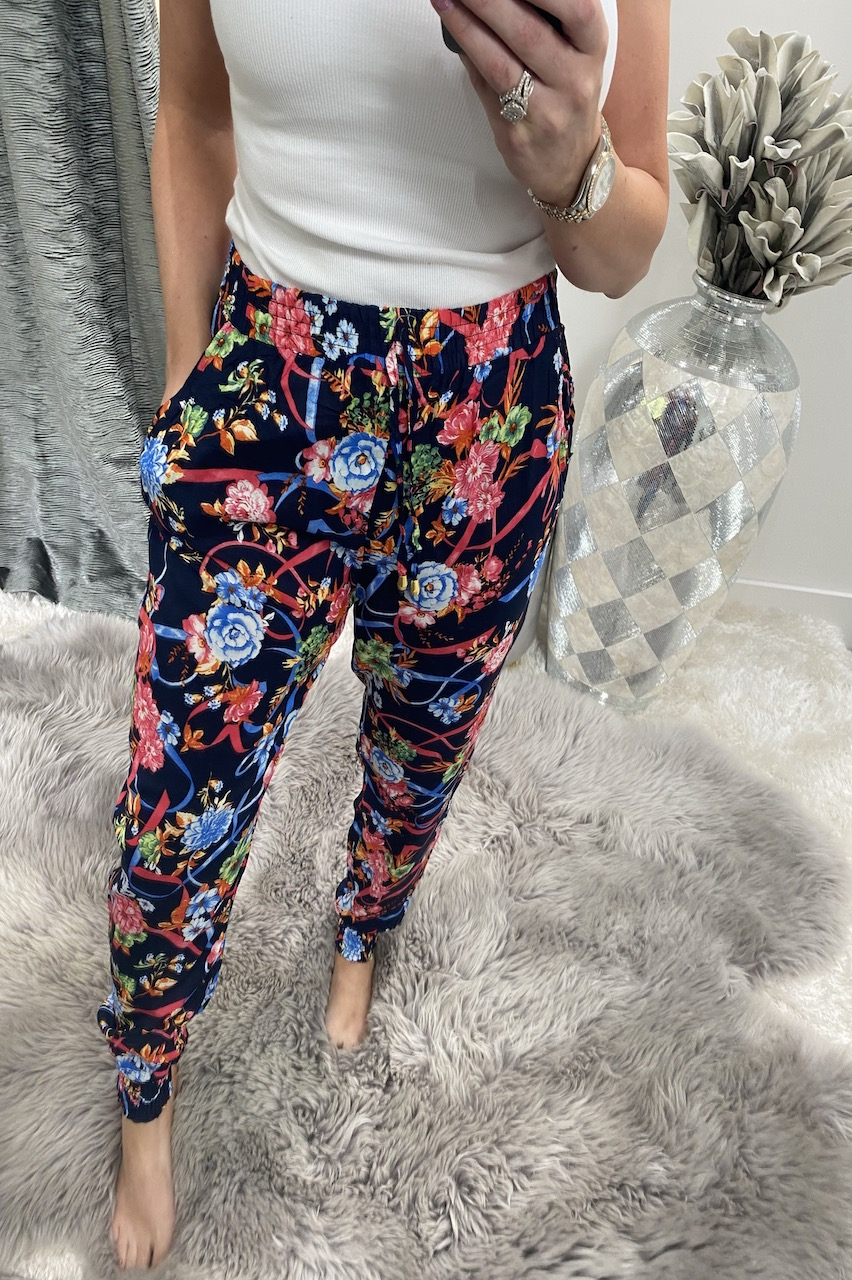 Nola Navy Floral  Elasticated Trousers