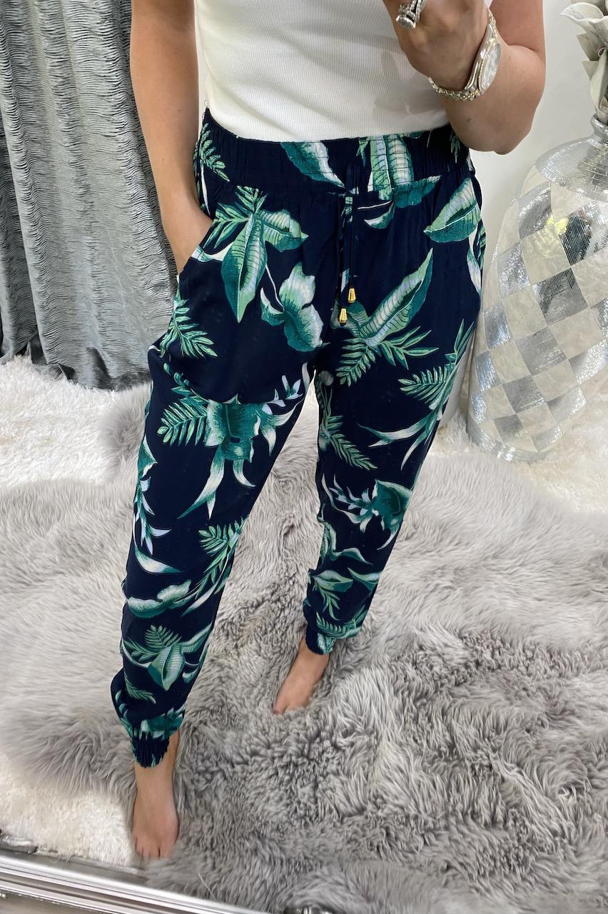 Dallas Navy & Blue Leaf  Elasticated Trousers