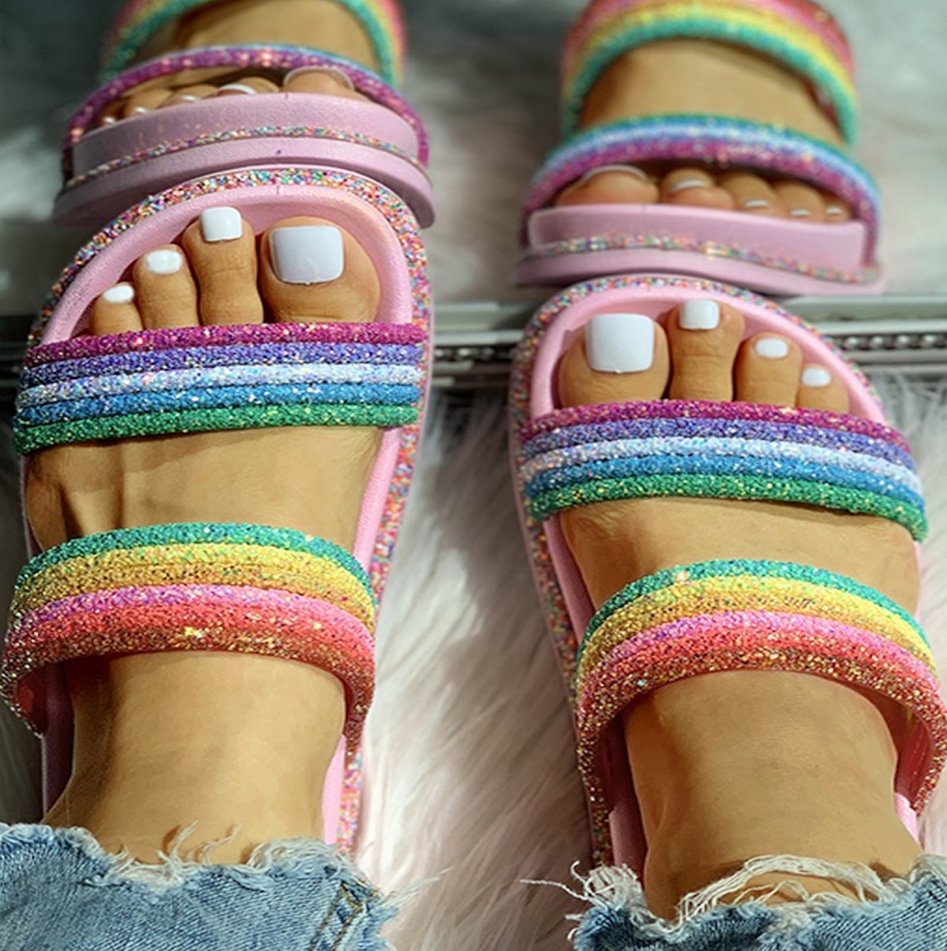Luxury Pink Rainbow Glitter  Sliders