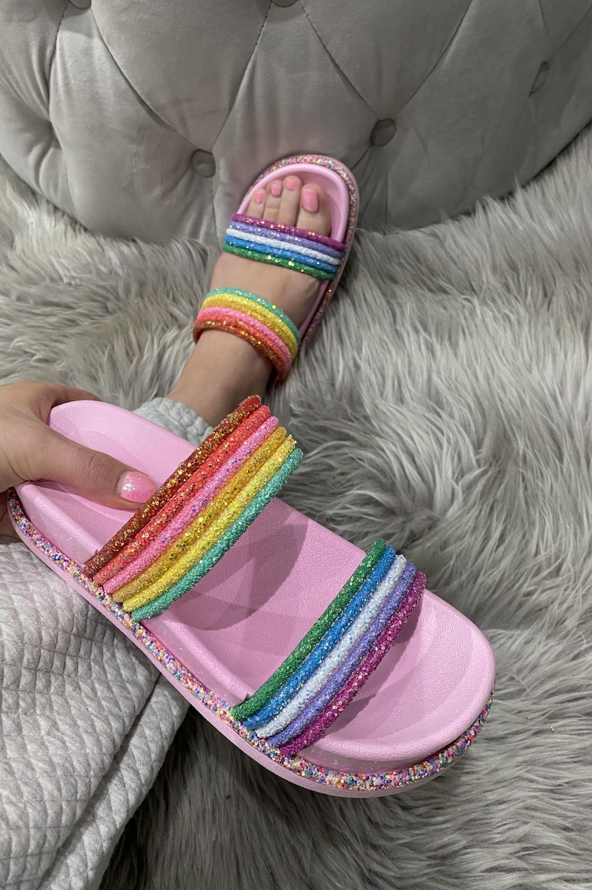 Luxury Pink Rainbow Glitter  Sliders