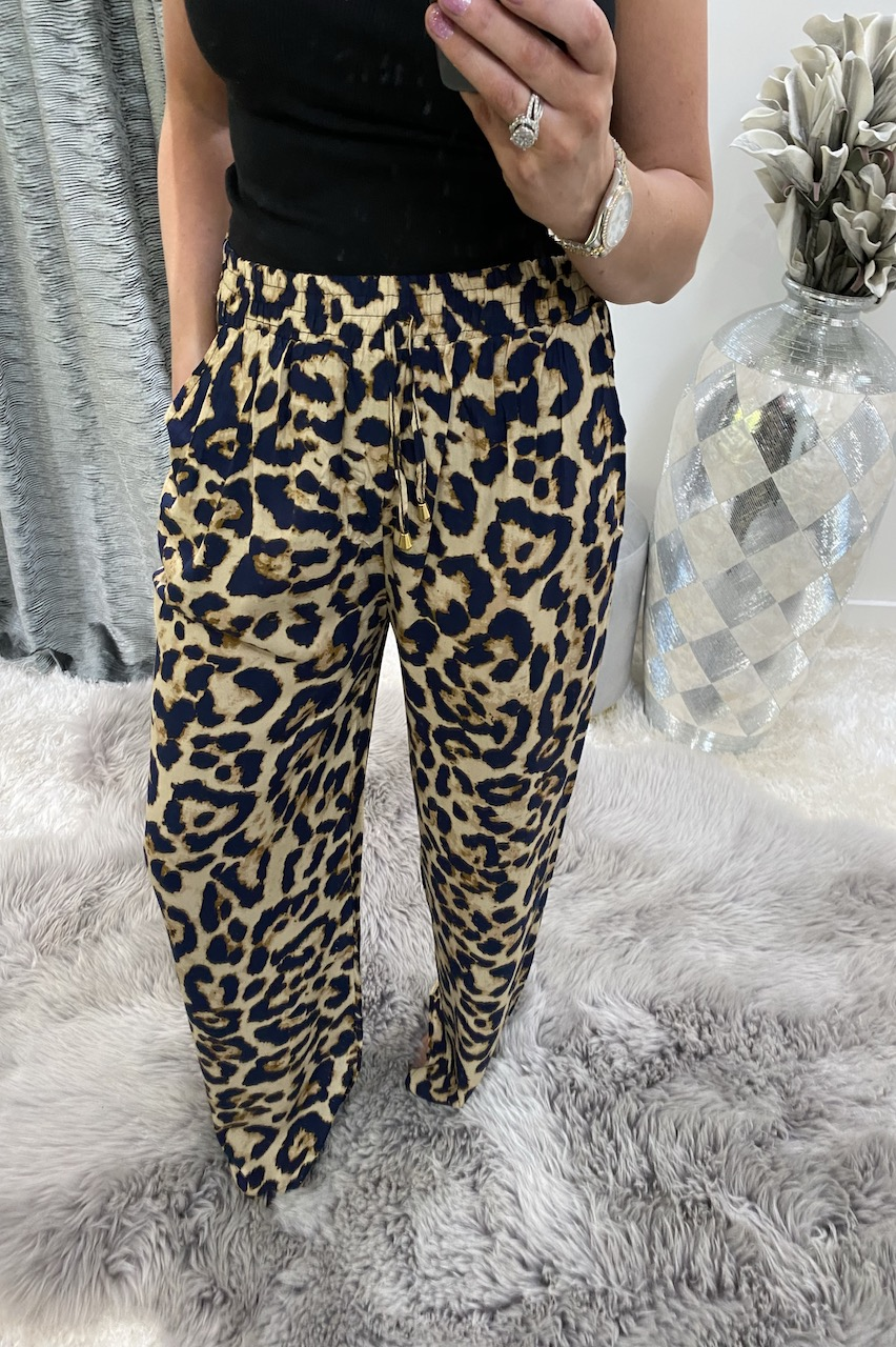 Beige Leopard Relaxed  Elasticated Trousers