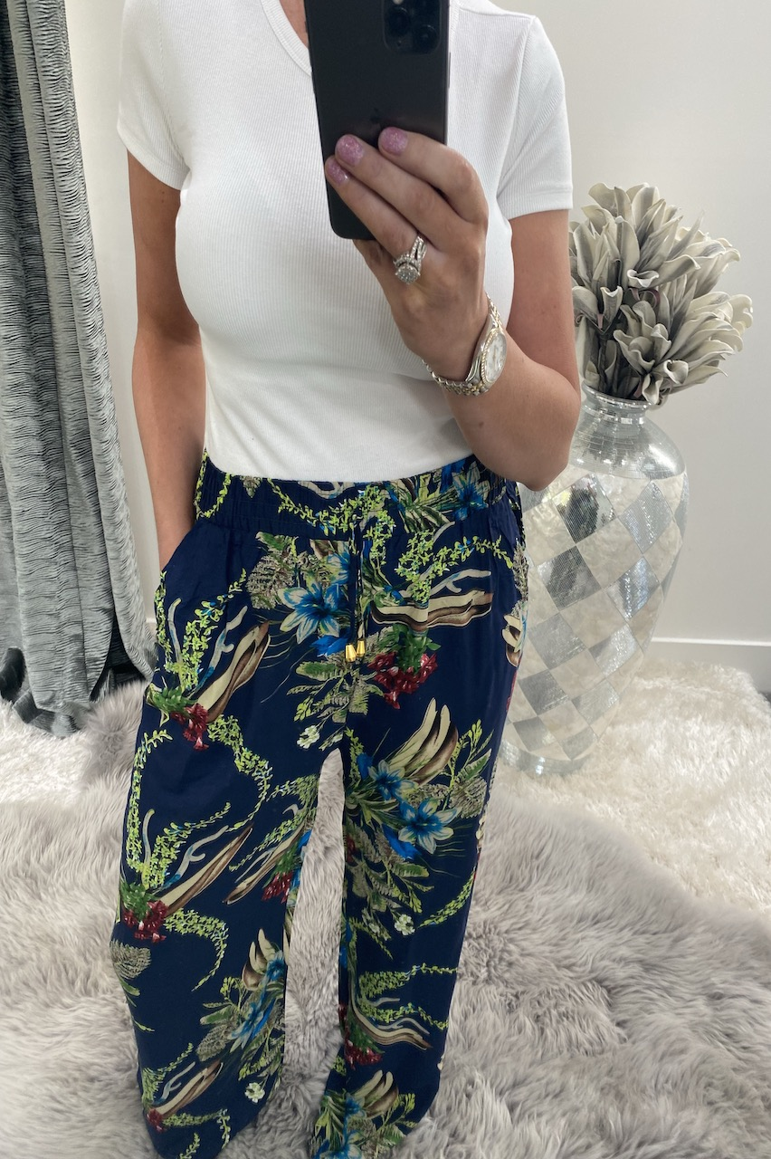 Milana Navy Relaxed Elasticated Trousers
