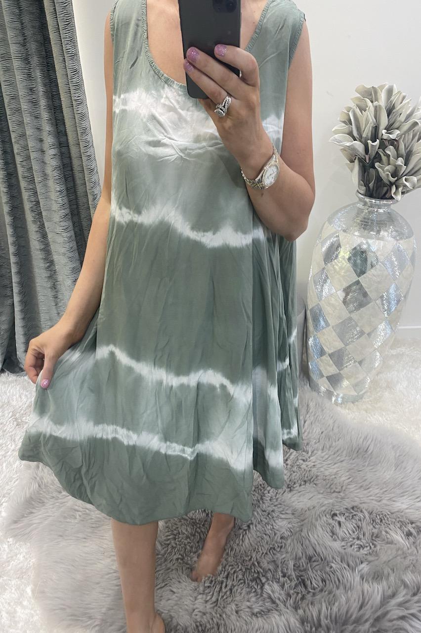 Khaki Tie Dye Summer  Dress