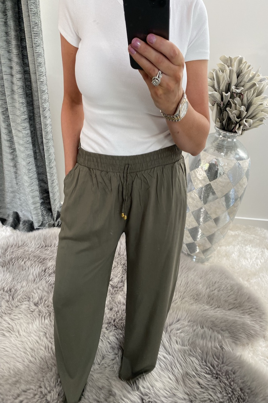 Khaki Relaxed Elasticated Trousers
