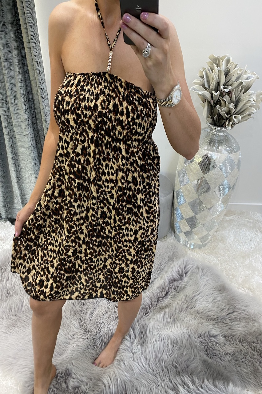 Sinitta Brown Leopard Summer  Dress