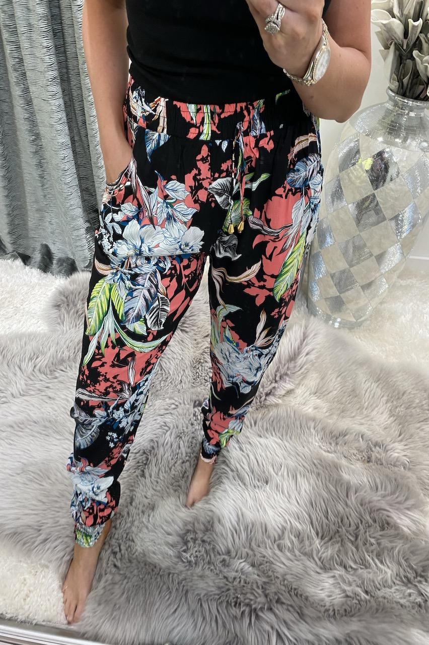 Bijou Black Floral Elasticated Trousers